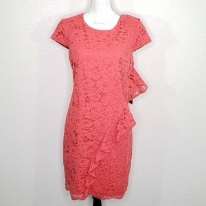 Vince Camuto Coral Lace Sheath Size 12